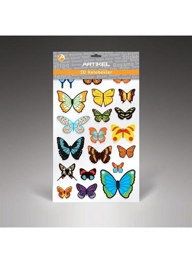 Artikel 3D Kelebekler Duvar Süsü 20 Adet, 3 Boyutlu Duvar Süsü, Üç Boyutlu Kelebek Renkli